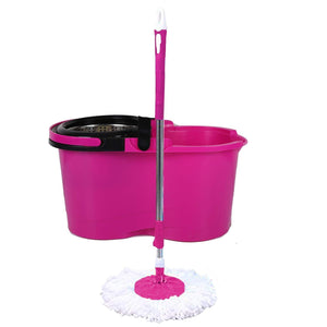 Telescopic Spin Microfiber Spin Mop(Pink)