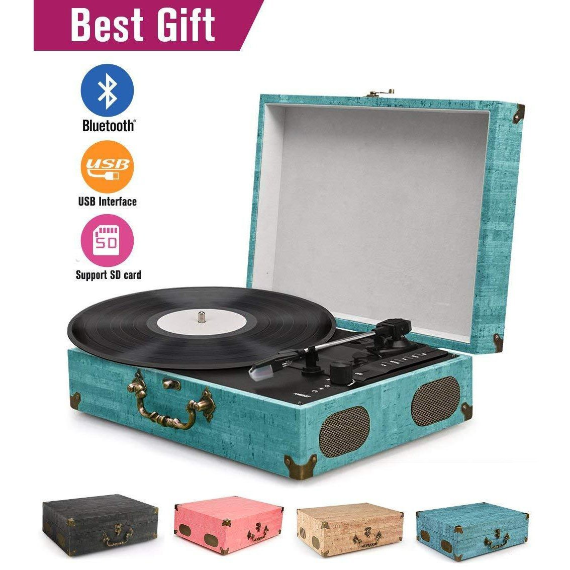 Portable Bluetooth 3 Stereo Speed Turntable,Sky Blue