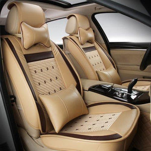 Leather Seat Cover Set for Car with Protection Cushions