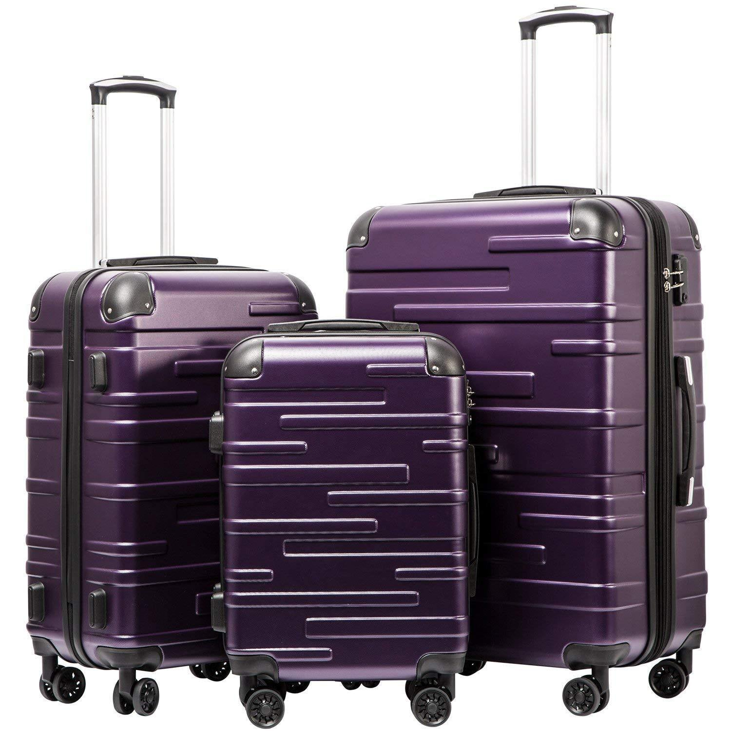 Expandable Suitcase 3 Piece Set(purple)