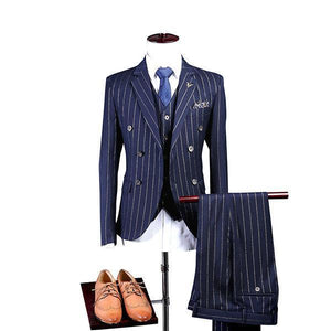 Three Pieces Formal Striped Shawl Collar Suit