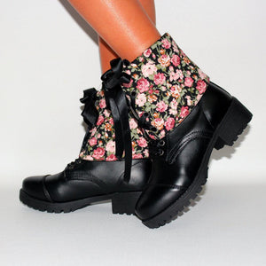 Warmable Cuffed Floral Chunky Heel Boots