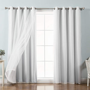Fashion Mix Sheer Lace & Blackout Curtain Set