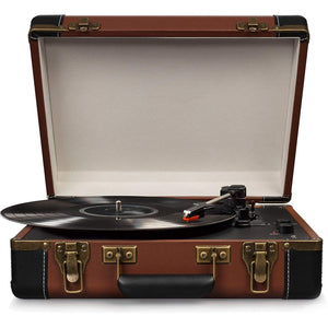 Portable USB Turntable With Bluetooth, Brown