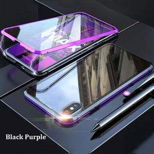 Luxury Clear Glass Built-in Magnet 360 Full Case