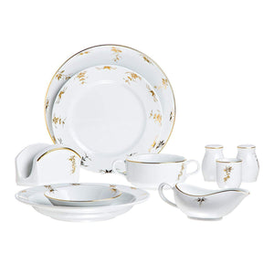 White Porcelain Dinnerware Set,Gold Decorated