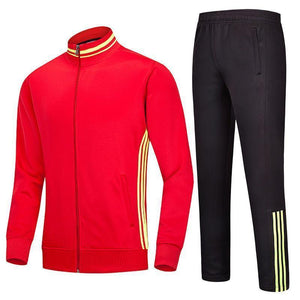 Striped Comfortable Brief Zippered Men's Sports Suit