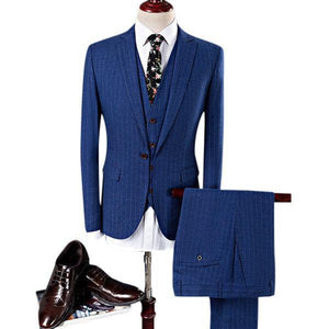 Stripes Printing Slim Business Casual Blazers for Men