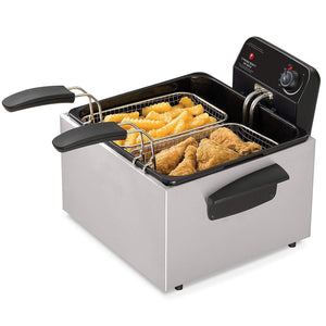 Stainless Steel Dual Basket Deep Fryer