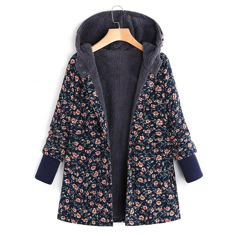 Floral Printed Hooded Long Sleeve Autumn Winter Coat
