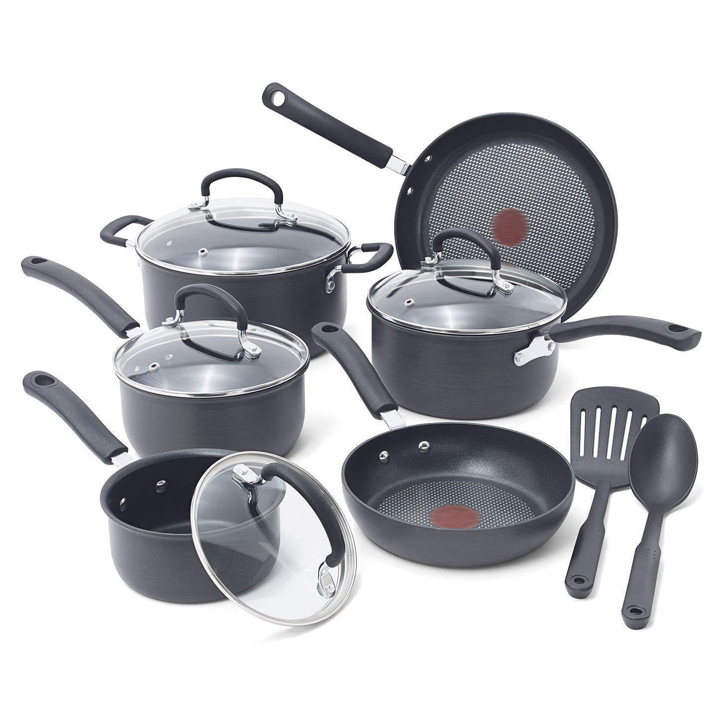 Nonstick Pots and Pans Set, 12 Piece,Gray