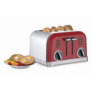 Metal Classic 4-Slice Toaster,Metallic Red