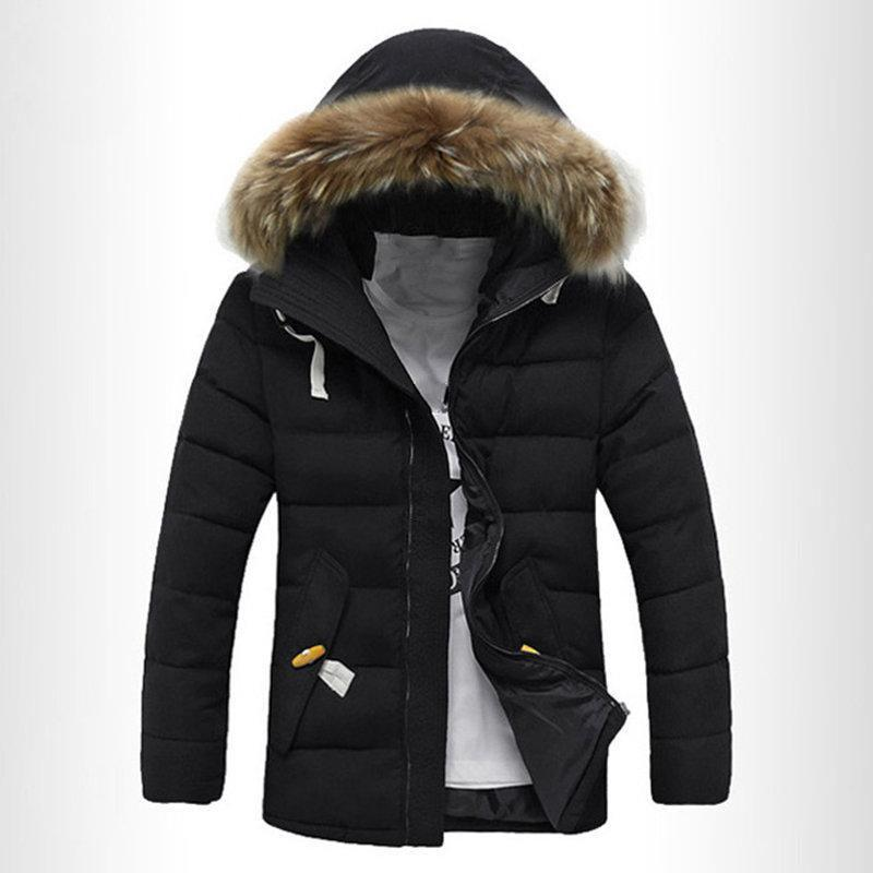 Casual Mid Length Zipper Drawstring Warm Coat