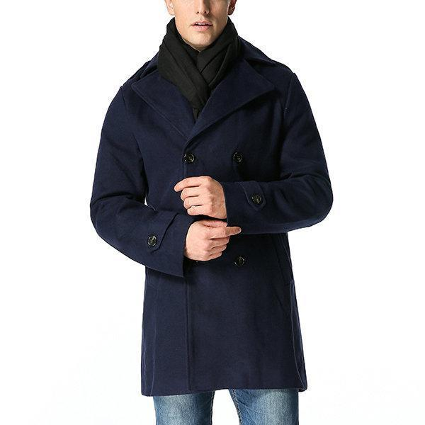 Business Thick Warm Double-breasted Trench Coat for Men