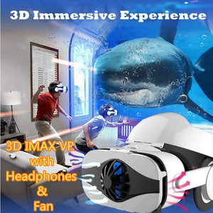 3D VR Headset/Glasses With Fan & Headphone