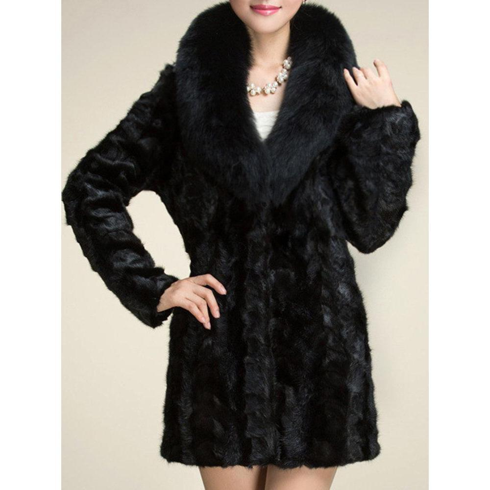 Elegant Faux Fur  Collar Solid Color Long Coat