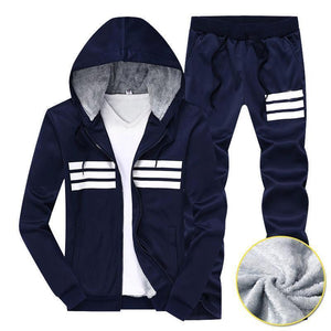 Striped Letter Windproof DrawString Men's Sports Suit
