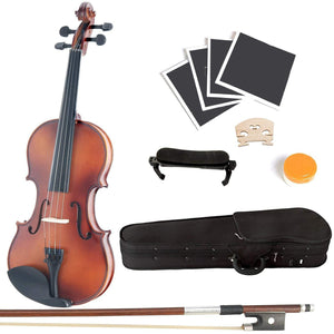 Solid Wood Satin Antique Violin with Hard Case