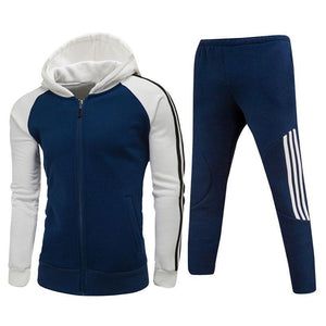Simple Contrast Hooded Zip Outdoor Men's Sports Suit