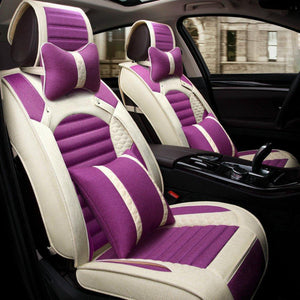 Flax Breathable Front and Rear Car Seat Covers