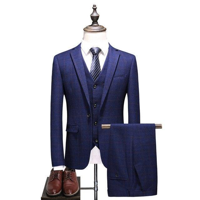 New Arrival Classic Men's Wedding Plaid Suits