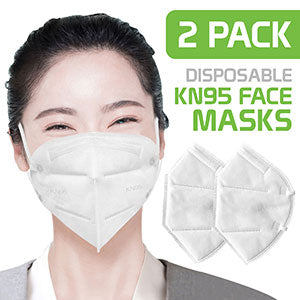 MKN952 - 2 Pack Disposable Face Masks, Single Use Breathable KN95 Face Mask Protects against Germs, Dust and Pollen with Comfortable Elastic Ear loops (for General Use)