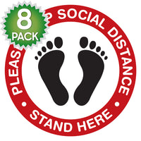SK07 - 8 Pack 6FT Social Distancing Floor Decal, Anti-Slip Safety Social Distancing Floor Decal Marker for Banks, Shopping Centers, Grocery Stores and More