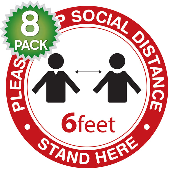 SK09 -  8 Pack 6FT Social Distancing Floor Decal, Anti-Slip Safety Social Distancing Floor Decal Marker for Banks, Shopping Centers, Grocery Stores and More