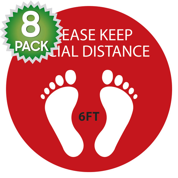 SK08 - 8 Pack 6FT Social Distancing Floor Decal, Anti-Slip Safety Social Distancing Floor Decal Marker for Banks, Shopping Centers, Grocery Stores and More