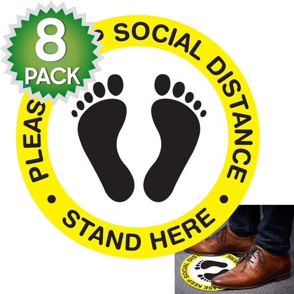 SK03 - 8 Pack 6FT Social Distancing Floor Decal, Anti-Slip Safety Social Distancing Floor Decal Marker for Banks, Shopping Centers, Grocery Stores and More