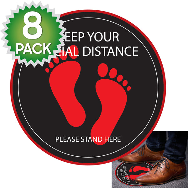 SK04 - 8 Pack 6FT Social Distancing Floor Decal, Anti-Slip Safety Social Distancing Floor Decal Marker for Banks, Shopping Centers, Grocery Stores and More