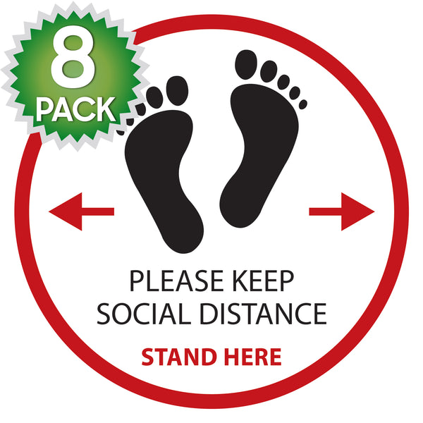 SK06 - 8 Pack 6FT Social Distancing Floor Decal, Anti-Slip Safety Social Distancing Floor Decal Marker for Banks, Shopping Centers, Grocery Stores and More