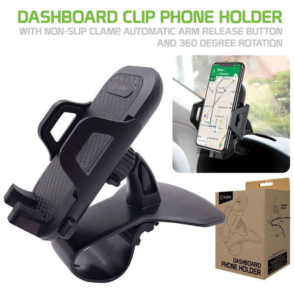 PHD260 - Dashboard Clip Phone Holder, Clip Mount with Non-Slip Clamp, Automatic Arm Release Button and 360 Degree Rotation for Apple iPhone XS Max, X/XR/XS, Samsung Galaxy Note 10/10 Plus and More – by Cellet