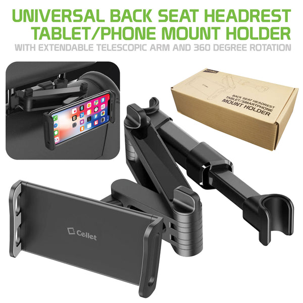 "PH355BK - Universal Back Seat Headrest Tablet/Phone Mount Holder with Extendable Telescopic Arm and 360 Degree Rotation for Apple iPad, iPad Pro, iPad Mini, iPhones and Other Smartphones and Tablets (fits up to 8"") by Cellet - Black"