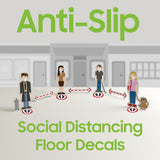 SK02 - 8 Pack 6FT Social Distancing Floor Decal, Anti-Slip Safety Social Distancing Floor Decal Marker for Banks, Shopping Centers, Grocery Stores and More