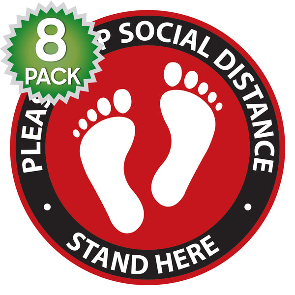 SK11 - 8 Pack 6FT Social Distancing Floor Decal, Anti-Slip Safety Social Distancing Floor Decal Marker for Banks, Shopping Centers, Grocery Stores and More