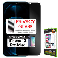 SYIPH12PM - iPhone 12 Pro Max, Privacy Tempered Glass Screen Protector for Apple iPhone 12 Pro Max (0.8mm) by Cellet