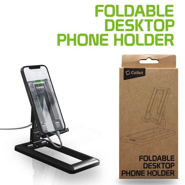 PH140BK - Adjustable Foldable Desktop Smartphone and Tablet Stand, Heavy Duty Adjustable Phone Stand with Non-Slip Rubberized Grips and Base Compatible to Smartphones, Tablets, and iPads - Black