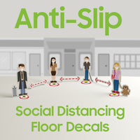 SK01 - 8 Pack 6FT Social Distancing Floor Decal, Anti-Slip Safety Social Distancing Floor Decal Marker for Banks, Shopping Centers, Grocery Stores and More