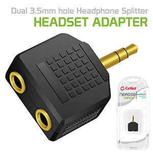 CNY2 - Cellet Single 3.5mm pin to double 3.5mm hole Headphone Split Adapter