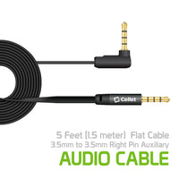 CN3535K - Cellet 5 Foot (1.5 meter) Premium Flat Wire 3.5mm to 3.5mm Right Angle Pin Auxiliary Audio Cable