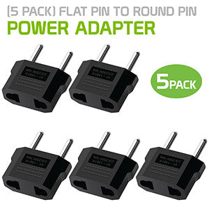 CN110 - 5 Pack Cellet Power Adapter - Flat Pin to Round Pin