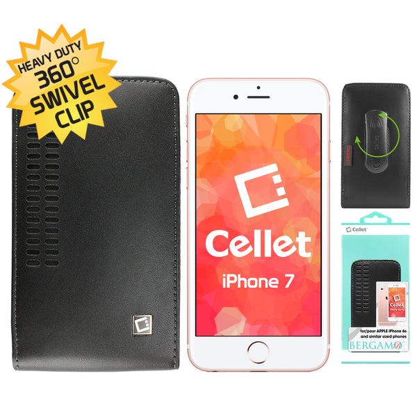 LBERS - Cellet Bergamo Case for Apple iPhone 8, 7, 6S, 6 Samsung Galaxy S8 S7 S6 S5 S4 S3 and similar size phone with Cellet Removable Spring Clip