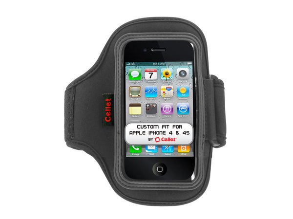 NEOIPH10 - Cellet Black Neo Armband for Apple iPhone 4 & 4S (10 inch long)