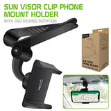 PH700 - Cellet Sun Visor Clip Phone Mount Holder with 360 Degree Rotation Compatible to iPhone XS Max, XS/XR, 8/8 Plus, Samsung Galaxy S10, S10 Plus, S10e, Note 9/8/7, LG V50, V40 ThinQ, G7 ThinQ