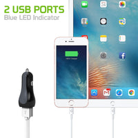 PUSB2ADWB - Cellet RapidCharge 12W 2.4A Dual USB Car Charger for Android and Apple Devices - White