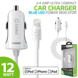 PAPP5GWB- MFI Certified Lightning Car Charger 2.4 Amp - 4Ft  -White