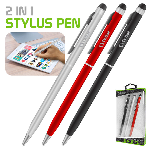 PEN740BK - 3 Pack 2-in-1 stylus & ink pen for Apple iPad, iPad Pro, iPad Mini, Tablets, Touchscreen laptops, iPhone XS Max, XR, XS, Samsung Galaxy S10, S10 Plus, S10E and Other Touch Screen Enable Devices