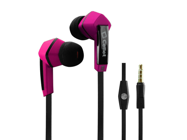 EP3510PK - Cellet Square 3.5mm Flat Wire Stereo Hands-Free Ear Buds - Black/Pink