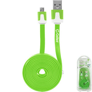DAMICROHGR - Cellet 4 Ft. Flat Wire Micro USB Charging/Data Cable - Green